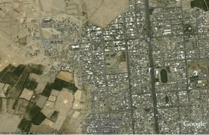 موقعيت تپه اهرنجان بر روي تصوير ماهواره اي